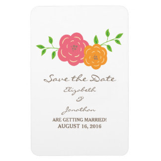 In Bloom Red Orange Save the Date Flexi Magnet