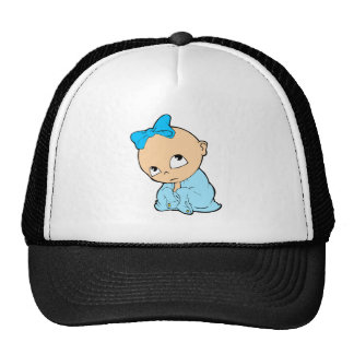 in blue with bow cap