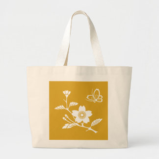 In branch cherry tree medium shade flying large tote bag