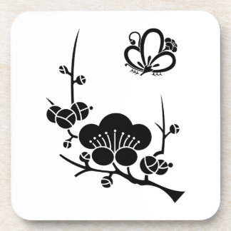 In branch plum medium shade plum butterfly coaster