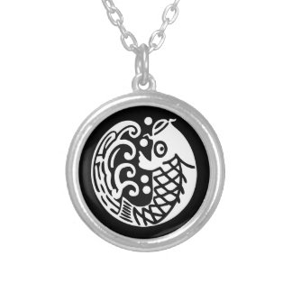 In carp wave silver plated necklace