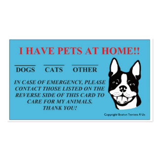 """""""In Case Of Emergency, I Have Pets At Home"""" Cards Pack Of Standard Business Cards"""