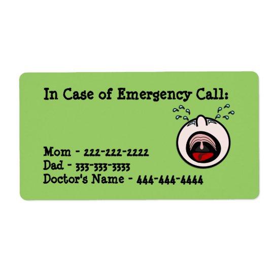 In Case of Emergency Labels