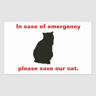 In case of emergency save our cat rectangular sticker