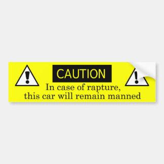 In case of rapture bumper sticker