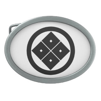 In circle corner raising four squares oval belt buckle