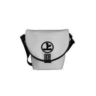In circle letter above courier bag