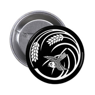 In circle of one rice plant sparrow 6 cm round badge