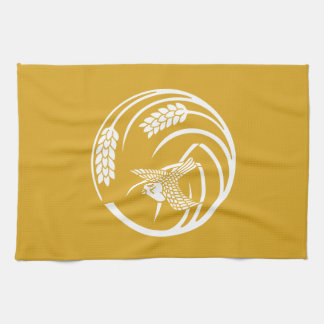 In circle of one rice plant sparrow tea towel
