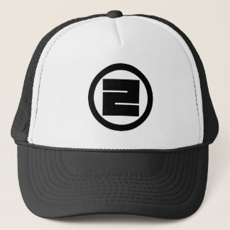 In circle one angular letter trucker hat