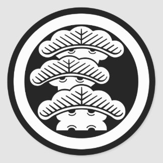 In circle the left three floor pine classic round sticker