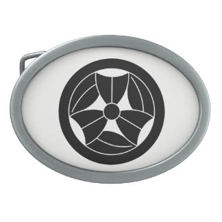 In circle three breaking bamboo grasses belt buckle