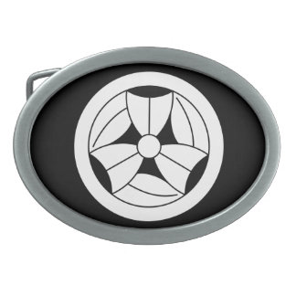 In circle three breaking bamboo grasses oval belt buckles