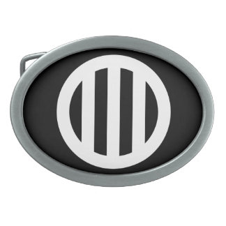 In circle vertical three pulling oval belt buckle