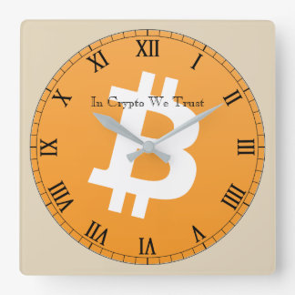In Crypto We Trust Bitcoin Centered Wall Clock