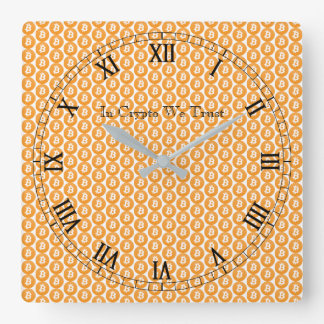In Crypto We Trust Bitcoin Tiled Square Wall Clock