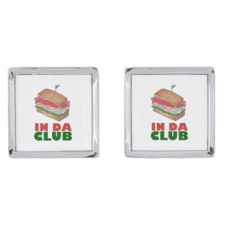 In Da Club Turkey Club Sandwich Funny Foodie Gift Silver Finish Cuff Links