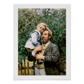 In daddy s arms by Severin Nilsson Print