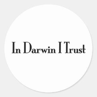 In Darwin I Trust Classic Round Sticker