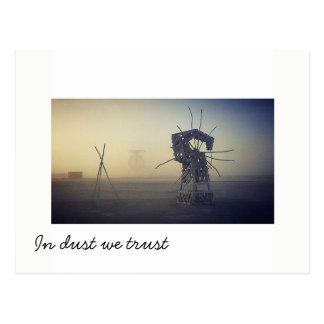 In dust we trust again postcard