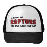 In Event of Rapture Christian Hats and Caps