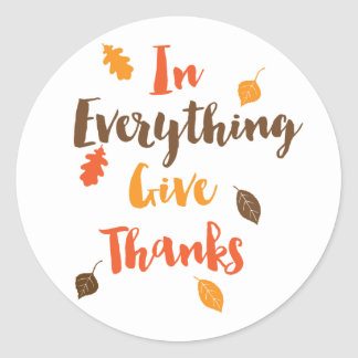 In Everything Give Thanks Autumn Leaves Sticker