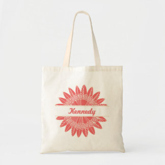 In Full Bloom Personalized Small Tote (Coral)