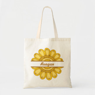 In Full Bloom Personalized Small Tote (Yellow)