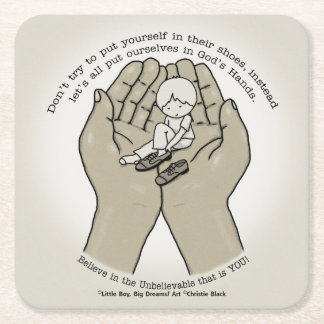 In God's Hands Square Paper Coaster