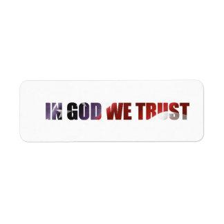 IN GOD WE TRUST LABEL RETURN ADDRESS LABEL