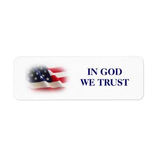 IN GOD WE TRUST RETURN ADDRESS LABEL
