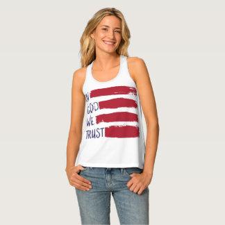 IN GOD WE TRUST USA American Flag Singlet