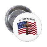 In God We Trust with rugged cross and US flag 6 Cm Round Badge