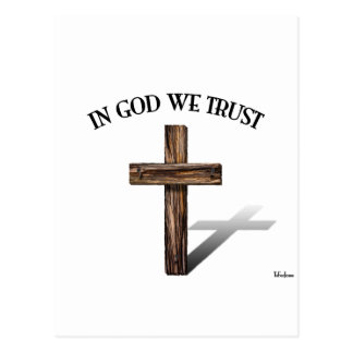 In God We Trust with rugged cross Postcard