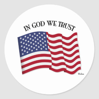 In God We Trust with US flag Classic Round Sticker