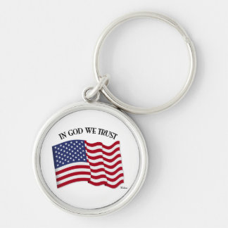 In God We Trust with US flag Silver-Colored Round Key Ring