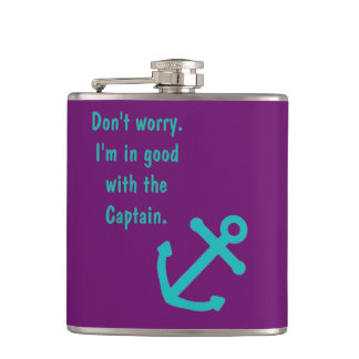 """""""In Good With The Captain"""" Purple Anchor Hip Flask"""