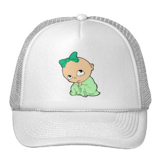 in green with bow cap