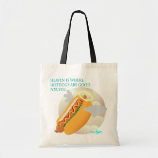 In heaven, hotdogs are good for you tote bag