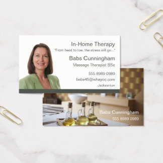 In Home Mobile Massage Therapy Portrait Name Card