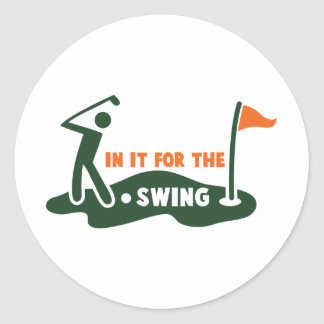 In it for the swing GOLF Classic Round Sticker
