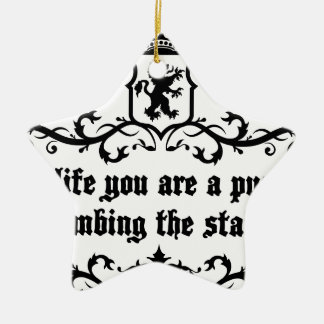 In Life You Are A Puppy Climbing The Stairs Ceramic Ornament
