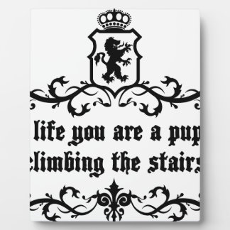 In Life You Are A Puppy Climbing The Stairs Plaque