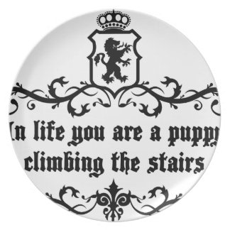 In Life You Are A Puppy Climbing The Stairs Plate