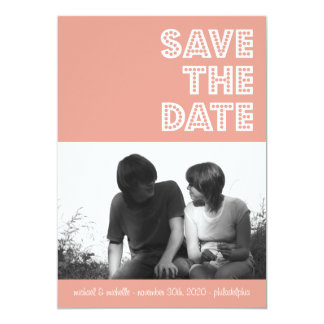 "In Lights Save The Date Announcements (Peach) 5"" X 7"" Invitation Card"