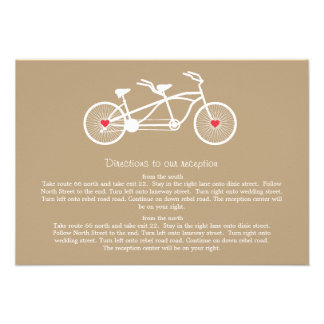 In love- Brown Bicycle  Wedding Direction Cards Invitation