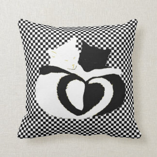 In Love Cats - black white cats tails heart shaped Cushion