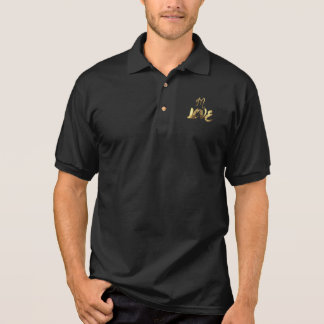 In Love Quote Gold Look Typography Romantic Script Polo Shirt