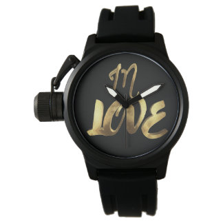 In Love Quote Gold Look Typography Romantic Script Watch