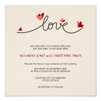 In Love Simple Elegant Text Wedding 13 Cm X 13 Cm Square Invitation Card